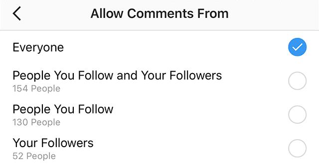 کامنت ها در اینستاگرام