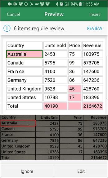 تبدیل عکس به جدول با اپلیکیشن اکسل