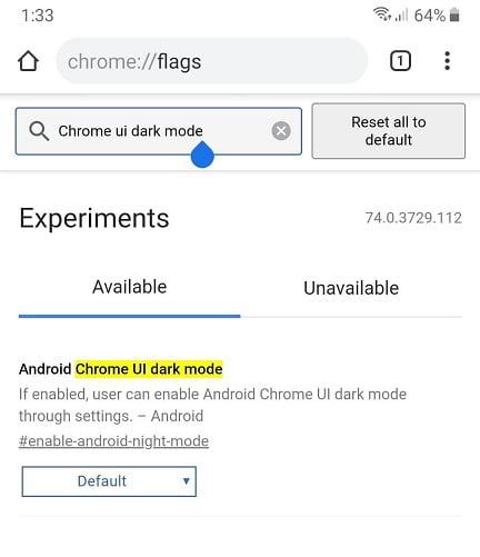 دارک مود گوگل کروم نسخه اندروید