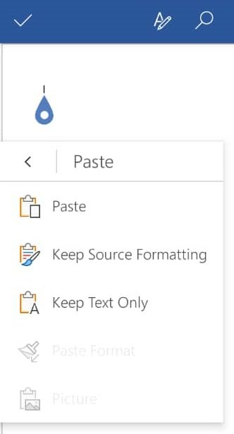 گزینه های paste در ورد اندروید