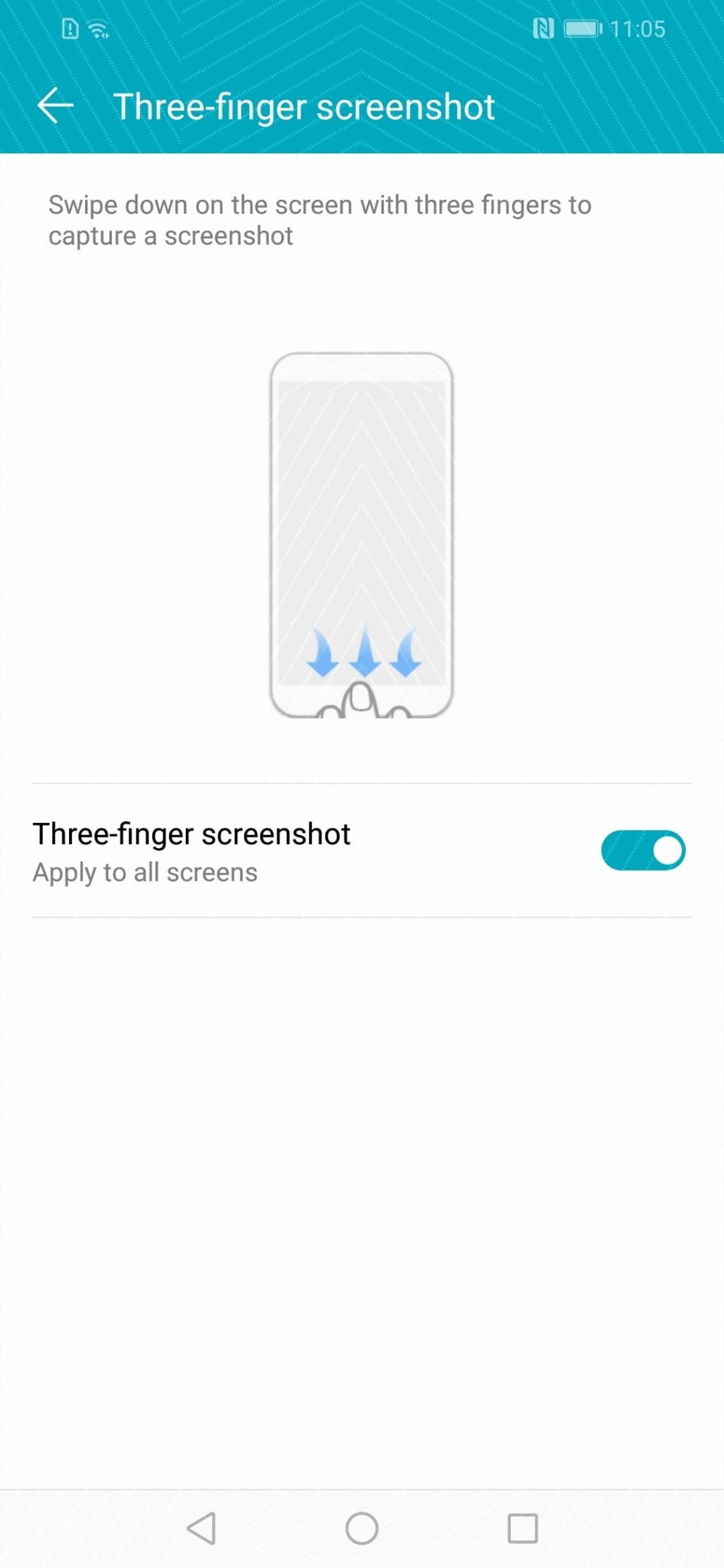 نحوه اسکرین شات گرفتن در روش سه انگشتی