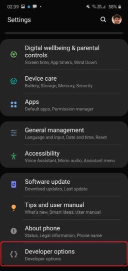 دکمه جدید developer options