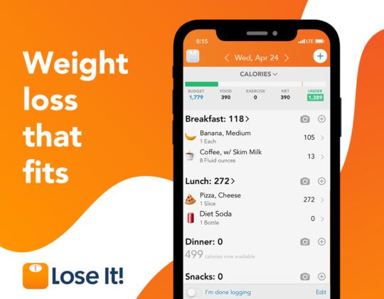 اپلیکیشن Lose it! رژیم غذایی برای لاغری